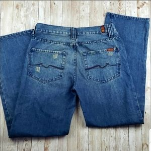 """7FAM """"A"""" Pkt Relaxed Distressed Jean Sz 32"""